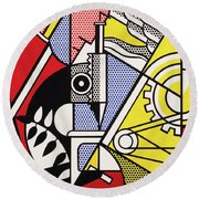 Peace Through Chemistry I - Roy Lichtenstein Round Beach Towel