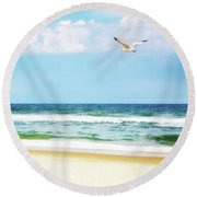 Peaceful Beach With Seagull Soaring Round Beach Towel