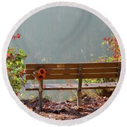Round Beach Towel featuring the photograph Peaceful Bench by George Randy Bass