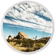 Peaceful Boulder Round Beach Towel by Amyn Nasser