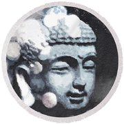 Peaceful Buddha 3- Art By Linda Woods Round Beach Towel