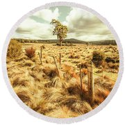 Peaceful Country Plains Round Beach Towel