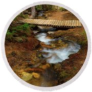 Round Beach Towel featuring the photograph Peaceful Crossing by James BO Insogna