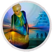 Round Beach Towel featuring the digital art Peaceful Discovery by Shadowlea Is