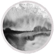 Peaceful Evening - Abstract Ink Rural Landscape Art Round Beach Towel