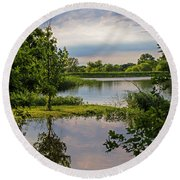 Peaceful Evening Round Beach Towel