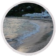 Round Beach Towel featuring the photograph Peaceful Evening On Dawn Beach by Margaret Bobb