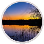 Round Beach Towel featuring the photograph Peaceful Evening by Rose-Maries Pictures