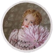 Round Beach Towel featuring the photograph Peaceful Kish Doll by Nancy Lee Moran