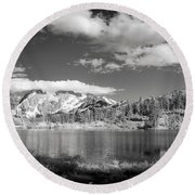 Round Beach Towel featuring the photograph Peaceful Lake by Jon Glaser