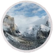 Round Beach Towel featuring the photograph Peaceful Moments - Yosemite Valley by Sandra Bronstein