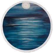 Peaceful Moon At Sea Round Beach Towel