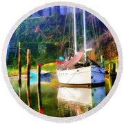 Round Beach Towel featuring the photograph Peaceful Morning In The Cove by Brian Wallace