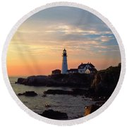 Peaceful Mornings Round Beach Towel