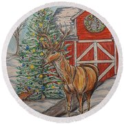 Peaceful Noel Round Beach Towel