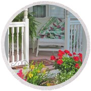 Round Beach Towel featuring the photograph Peaceful Porch In A Small Town by Nancy Lee Moran