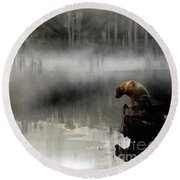 Round Beach Towel featuring the photograph Peaceful Reflection by Claire Bull