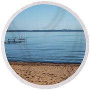Round Beach Towel featuring the photograph Grand Traverse Bay Beach-michigan  by Joann Copeland-Paul