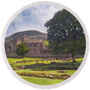 Peaceful Retreat - Melrose Abbey  Round Beach Towel
