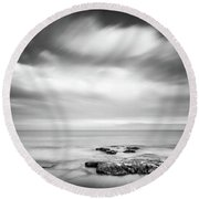 Round Beach Towel featuring the photograph Peaceful Sea View. by Gary Gillette