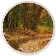 Peaceful Stream Round Beach Towel by Roena King
