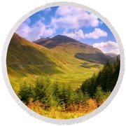 Peaceful Sunny Day In Mountains. Rest And Be Thankful. Scotland Round Beach Towel
