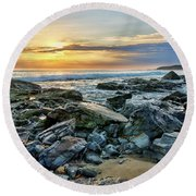 Peaceful Sunset At Crystal Cove Round Beach Towel