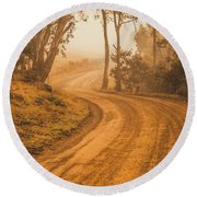 Peaceful Tasmania Country Road Round Beach Towel