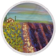 Round Beach Towel featuring the painting Peaceful Tuscany by Sharyn Winters