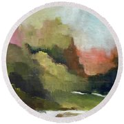 Round Beach Towel featuring the painting Peaceful Valley by Michelle Abrams