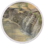 Peaceful Waterfalls Round Beach Towel by Luther Fine Art