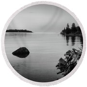 Peaceful Waters At Crystal Point, Lake Huron Mi Round Beach Towel