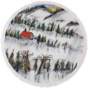 Round Beach Towel featuring the painting Peaceful Winter Daybreak by Jeffrey Koss