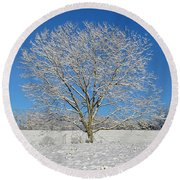 Peaceful Winter Round Beach Towel