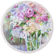Round Beach Towel featuring the painting Peach And Pink Bouquet by Jennifer Beaudet