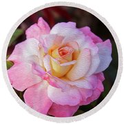 Peach And White Rose Round Beach Towel
