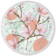 Peach Blossom Pattern Round Beach Towel