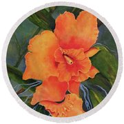 Peach  Blush Orchid Round Beach Towel