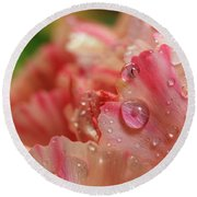 Peach And Pink Carnation Petals Round Beach Towel