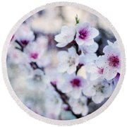 Peach Flowers Round Beach Towel
