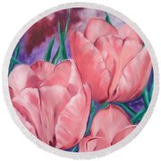 Peach Pink Tulips Round Beach Towel