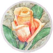 Peach Rose Round Beach Towel