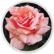 Peach Rose Round Beach Towel by Rona Black