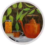 Peach Tea Round Beach Towel by Mike Caitham