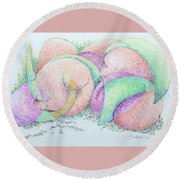 Peaches And Plums Round Beach Towel