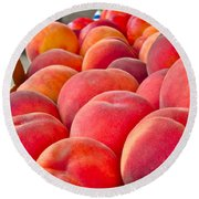 Peaches For Sale Round Beach Towel
