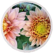 Peachy Chrysanthemums Round Beach Towel