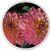 Peachy Dahlias Round Beach Towel