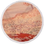 Peachy Day Round Beach Towel