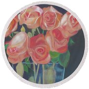 Peachy Glow Round Beach Towel